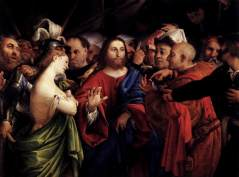 Lorenzo_Lotto_-_Christ_and_the_Woman_Taken_in_Adultery_-_WGA13709