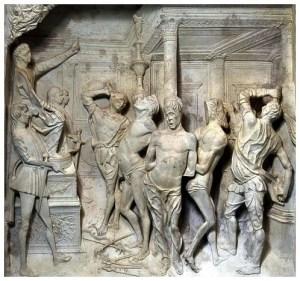 Biczowanie św. Mariusza i synów Giovanni Antonio Amadeo, marmurowa płaskorzeźba, 1479-82